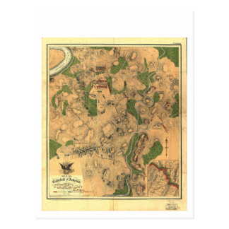 Civil War Map of the Battlefield of Antietam 1862 Postcard
