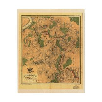 Civil War Map of the Battlefield of Antietam 1862 Wood Wall Art