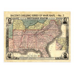 Civil War Map of the Southern States Postcard