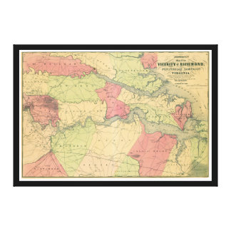 Civil War Map Showing Battlefields of Virginia Canvas Print