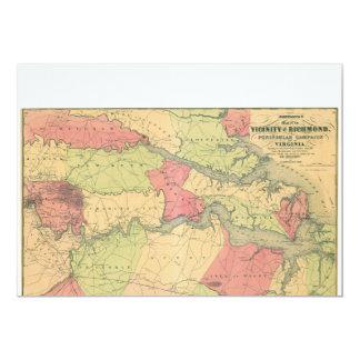 Civil War Map Showing Battlefields of Virginia Card