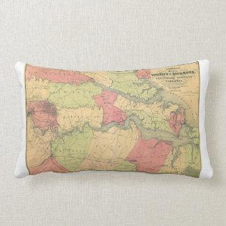 Civil War Map Showing Battlefields of Virginia Throw Pillows
