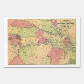 Civil War Map Showing Battlefields of Virginia Yard Sign