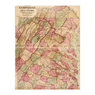 Civil War Military Map Potomac Campaign (1863) Canvas Print