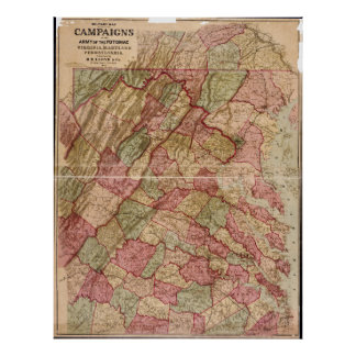 Civil War Military Map Potomac Campaign (1863) Poster