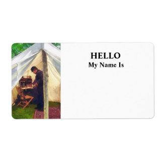 Civil War Officer's Tent Label