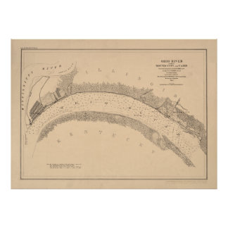 Civil War Ohio River Map Poster