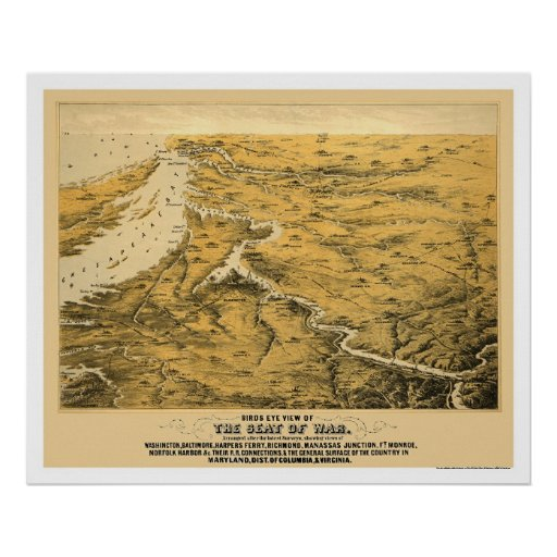 Civil War Panoramic Map 1861 Posters