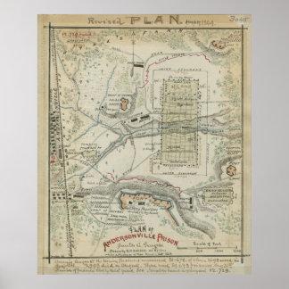 Civil War Plan of Andersonville Prison Poster