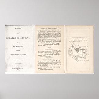 Civil War Plan of defenses of fort on Red River Poster