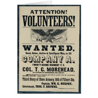 Civil War Recruitment Poster, 22 Infantry Regiment Greeting Card