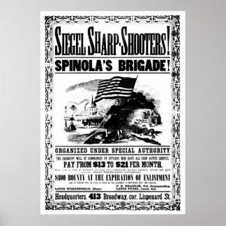 Civil War Recruitment Poster, black Poster