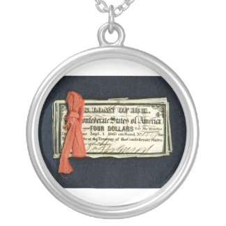 Civil War Red Tape Silver Plated Necklace