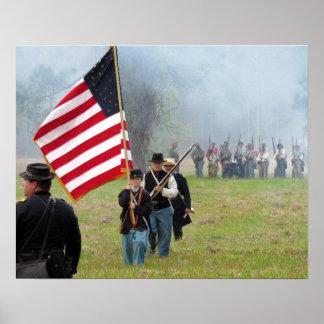 Civil War Reenactment - Flag Boy Poster