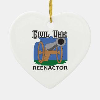 CIVIL WAR REENACTOR Double-Sided HEART CERAMIC CHRISTMAS ORNAMENT