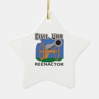 CIVIL WAR REENACTOR Double-Sided STAR CERAMIC CHRISTMAS ORNAMENT