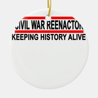 Civil War Reenactor T-Shirt.png Double-Sided Ceramic Round Christmas Ornament