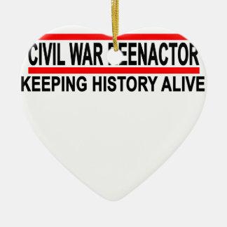Civil War Reenactor T-Shirt.png Double-Sided Heart Ceramic Christmas Ornament