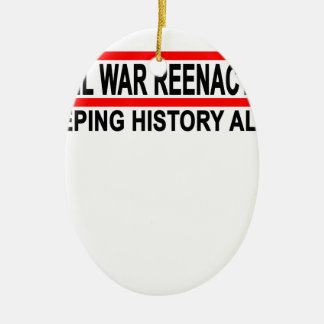 Civil War Reenactor T-Shirt.png Double-Sided Oval Ceramic Christmas Ornament