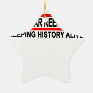 Civil War Reenactor T-Shirt.png Double-Sided Star Ceramic Christmas Ornament