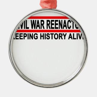 Civil War Reenactor T-Shirt.png Round Metal Christmas Ornament