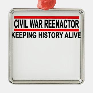 Civil War Reenactor T-Shirt.png Square Metal Christmas Ornament