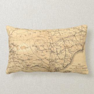 Civil War Sherman's March Map Atlanta to Goldsboro Throw Pillows