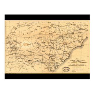 Civil War Sherman's March Map Atlanta to Goldsboro Postcard