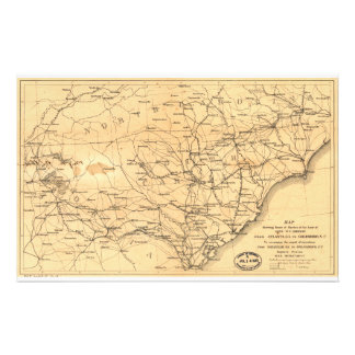 Civil War Sherman's March Map Atlanta to Goldsboro Stationery