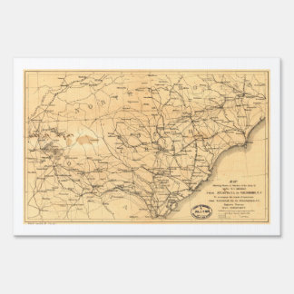 Civil War Sherman's March Map Atlanta to Goldsboro Yard Sign