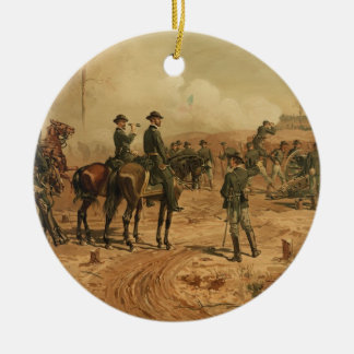 Civil War Siege of Atlanta by Thure de Thulstrup Double-Sided Ceramic Round Christmas Ornament