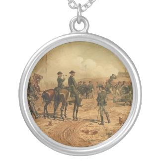 Civil War Siege of Atlanta by Thure de Thulstrup Round Pendant Necklace