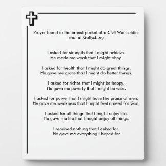 Civil War Soldier Prayer Plaque