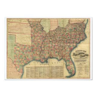 Civil War Southern States Map by J. Lloyd (1862) Card