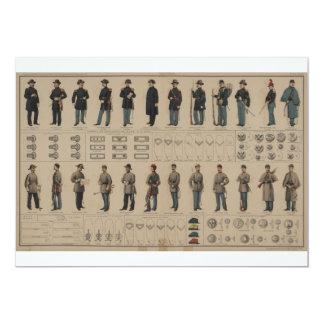 Civil War Union and Confederate Soldiers Uniforms 5x7 Paper Invitation Card