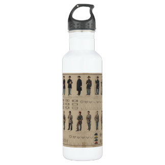 Civil War Union and Confederate Soldiers Uniforms Stainless Steel Water Bottle