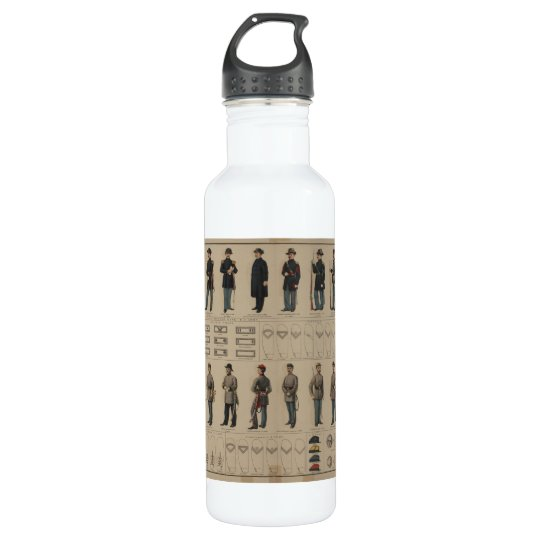 26b3a0bd5f Civil War Union and Confederate Soldiers Uniforms Stainless Steel Water  Bottle | Zazzle.com