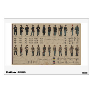 Civil War Union and Confederate Soldiers Uniforms Wall Decal