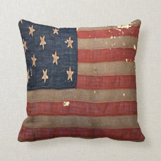 Civil War Union Flag Antique Distressed Stained Throw Pillow