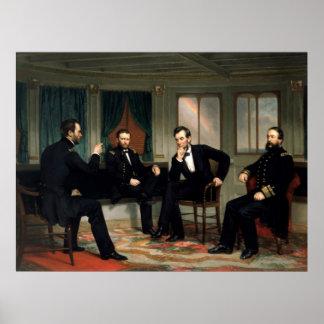 Civil War Union Leaders Painting -- Border Poster