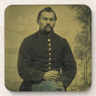 Civil War Union Soldier Tintype Beverage Coaster