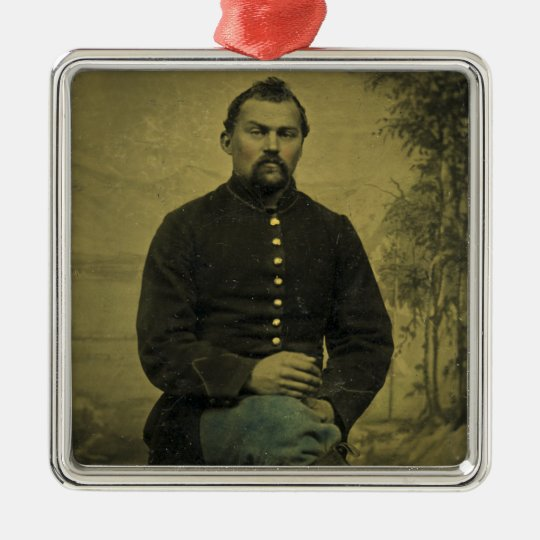 Civil War Union Soldier Tintype Metal Ornament