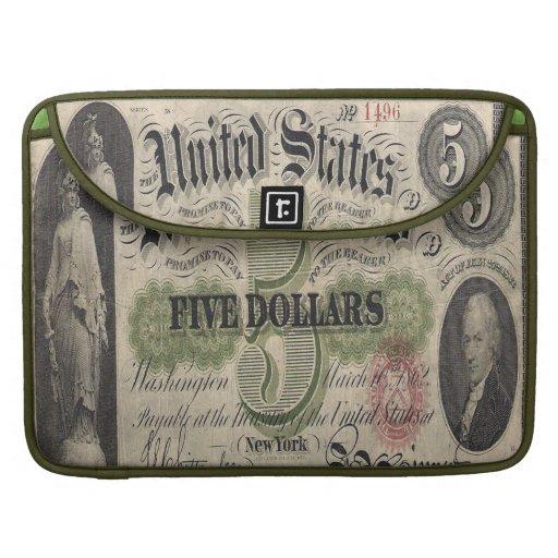 Civil war US 1862 5 dollar Note Mac Book Cover MacBook Pro Sleeve