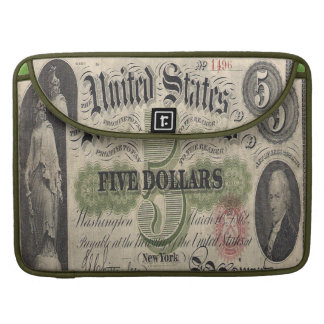 Civil war US 1862 5 dollar Note Mac Book Cover Sleeves For MacBooks