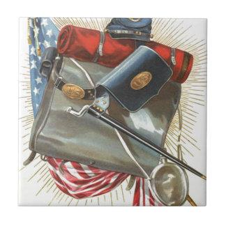 Civil War US Flag Bayonet Canteen Ceramic Tile