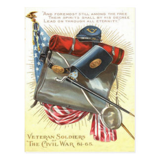 Civil War US Flag Bayonet Canteen Postcard