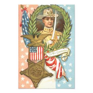 Civil War US Flag Cavalry Wreath Photo Print