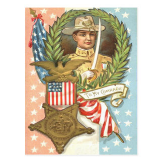 Civil War US Flag Cavalry Wreath Postcard