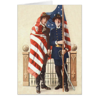 Civil War US Flag Union Confederate Soldier Card