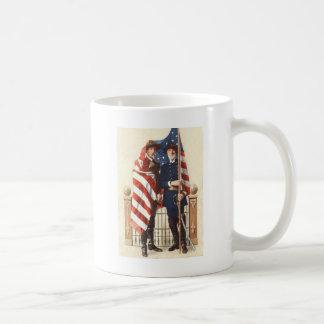 Civil War US Flag Union Confederate Soldier Coffee Mug
